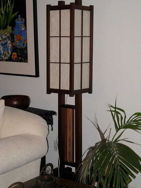 Cross between Japanese and Frank Lloyd Wright standing Japanese lamp