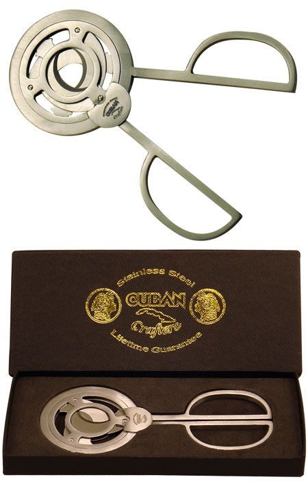 CUBAN CRAFTERS REVOLUCION CIGAR SCISSOR CUTTER FOR ALL SIZE CIGARS - 3 BLADES STAINLESS STEEL SCISSORS WITH WIDE HANDLES