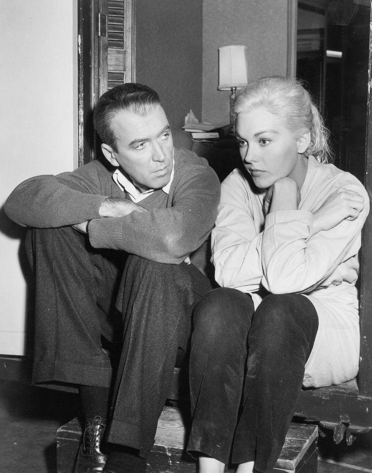 """James Stewart and Kim Novak on the set of """"Vertigo"""" (1958)"""