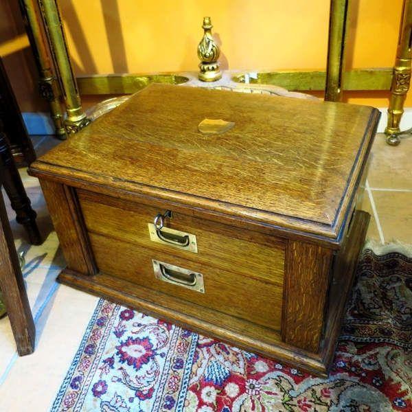 Antiker Englischer Besteckkasten In Eiche Mit Kristallspiegel Walker Hall Kristalle