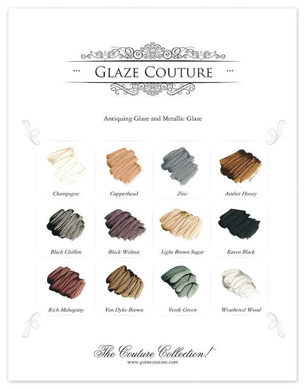 Our twelve colors of Glaze Couture can be used over any chalk, milk or acrylic paint!  They can also be used as a stain over raw wood or over older furniture that you want to give new color and life! Water based acrylic, soap & water clean up!