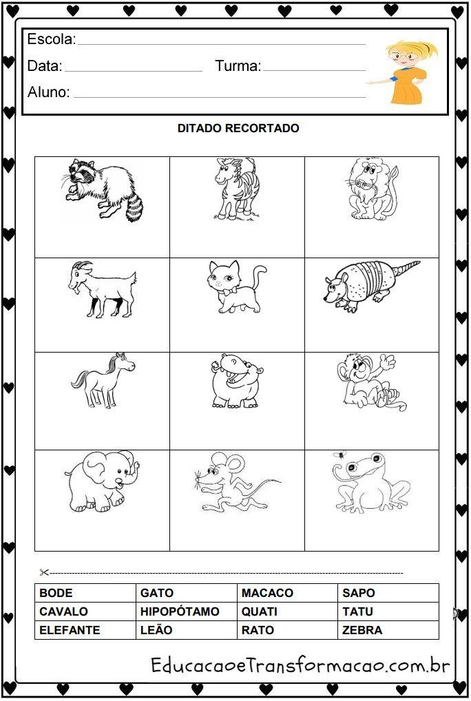 Atividades Educativas Ditado Recortado Pre Silabico Para Imprimir