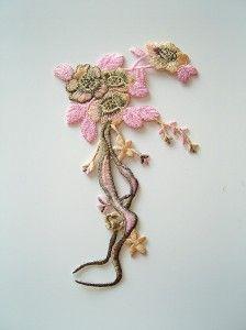 Naszywka kwiat - złoto-różowa