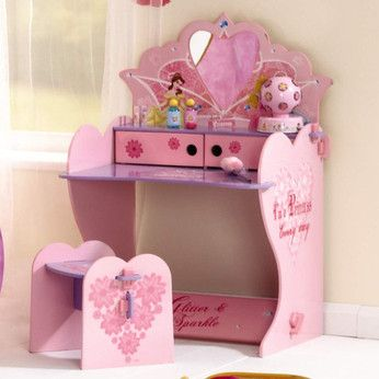 Disney Princess Vanity Table  This pretty Disney Princess vanity table has a mirror, two handy cupholders and a matching stool. Ea  http://www.comparestoreprices.co.uk/childrens-furniture/disney-princess-vanity-table.asp #disney #disneyfurniture #kidsfurniture #childrensfurniture