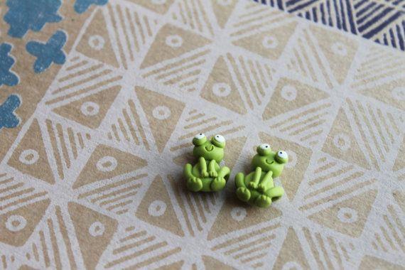 Frog Earrings  Handmade Frog Earrings   Frog Stud Earrings