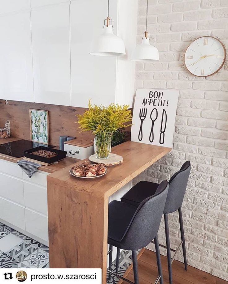 Kitchen inspiration A small bar in a narrow kitchen. Nice combination of … – küche