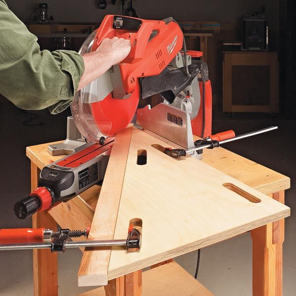 I needed to cut an acute angle (less than 45°) on the end of a workpiece. So I built this simple miter saw jig.    To use the jig, just lay it next to the blade and clamp it at one end to the saw fence. The clamp spaces along the angled edge work well for clamping the workpiece to the jig.