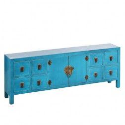 Aparador Azul Oriente Mueble Chino 8 Cajones