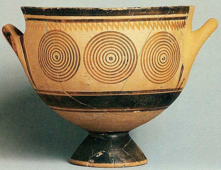 Dark Age/Geometric 4.19  dark on light - lack of balance  pottery  from Kerameikos cemetery in Athens  11th/10th century BC