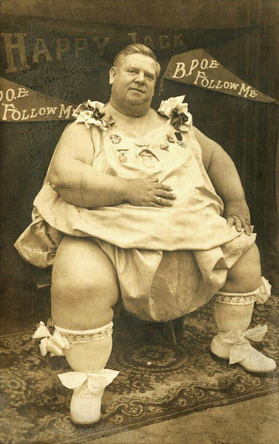 Happy Jack Eckert - 'World's Prize Fat Man, 34 years, weight 739 pounds. Largest Elk, Moose and Woodman of the World' -