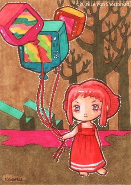Original ACEO Art Pop Surrealism Illustration Cute Psychedelic TV Balloons. $25.00, via Etsy.