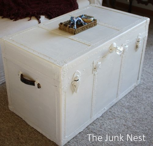 steamer trunk makeover. Hm...white? It could happen. I'm more worried about what to do with the inside of the trunk. :S