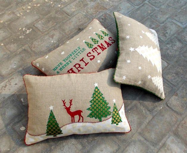 via en.dawanda.com Cushion Covers – Christmas tree linen cushion cover – a unique product by VLiving on DaWanda