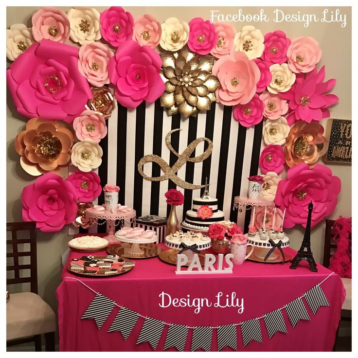 Decorations Kate spade, white, black, pink, fusia and gold. party, Birthday
