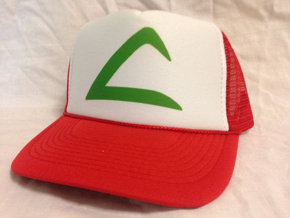 Easy and Quick Halloween low cost Costume Ash Ketchum Pokemon Trucker Hat Mesh Hat Snap Back Hat redl