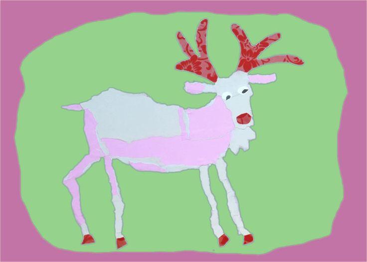 kerstkaart-rendier-eland-roze