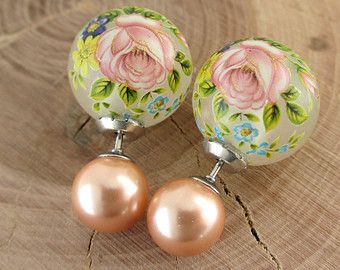 Country Rose Frost Fl Pearl Double Sided Earring Tribal Front Back