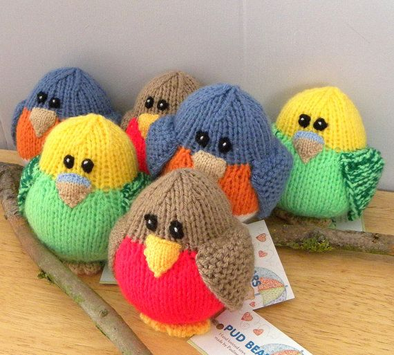 Hand Knitted Bird  CE Marked Toy  Knitted by PollysVintageBears