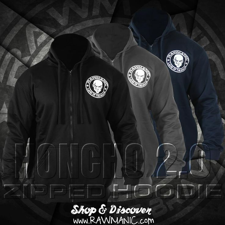 HONCHO Zipped Long Sleeve hoodie.   Available in Black, Blue, and Grey.
