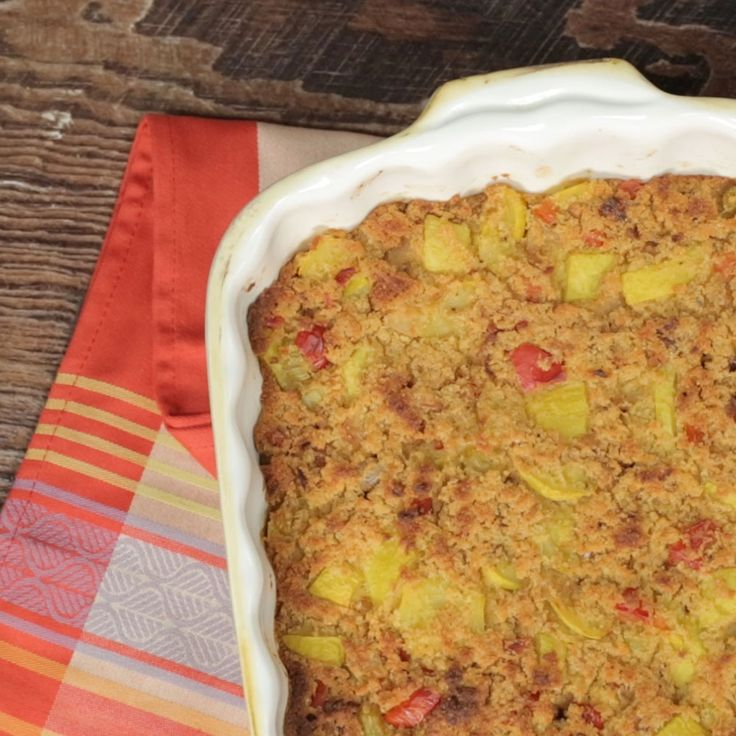 How To Make Cornbread 'n' Squash Dressing: substitute cream of celery soup and vegetable broth!