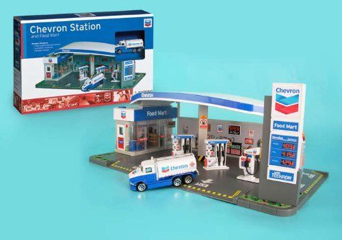 Chevron Gas Station by Daron. $28.25. High quality die-cast vehicle. This is a Chevron Service Station and Food Mart playset that your child will love playing with.