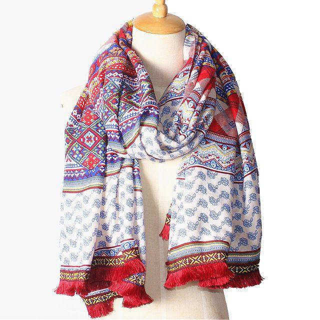 "Women Fashion Bohemian Flower Printed Cotton Soft Large Beach Scarf Shawl35""71"""