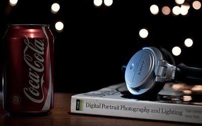 壁紙をダウンロードする ソニー, 書籍, ヘッドフォン, 銀行, コカ-コーラ