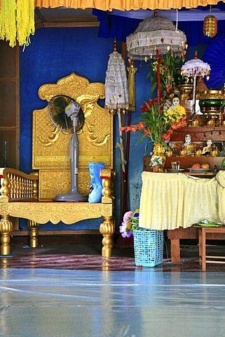 Interior view of a buddhist temple at a Moken village, Mergui Archipelago…