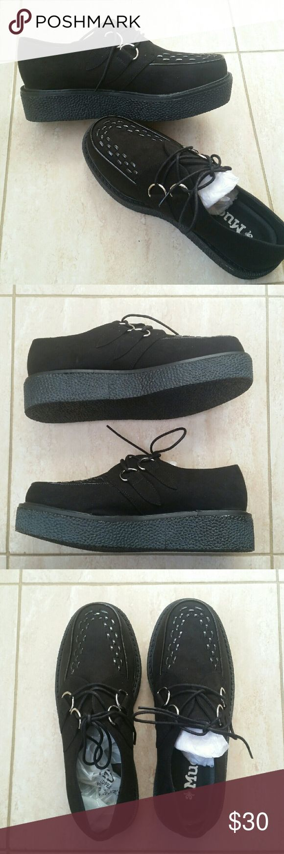 Black suede Creepers NWT Black suede creepers! | Size 7-7.5 Perfect for any grunge outfit with 1 inch platform Price negotiable!  Tags: #black #suede #grunge #creepers #creeper #chunky #boots #booties #UNIF #TUK #shoes #boots #platform #inch #goth #negotiable Shoes Platforms
