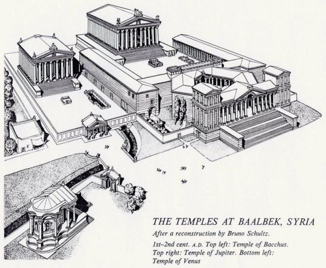 Temple of Zeus (Jupiter), Temple of Dionisos (Bacchus)  and  the Temple of Aphrodite (Venus) in Baalbek, Syria. (Reconstruction by Bruno Schultz)