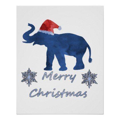 Christmas Elephant Poster - merry christmas diy xmas present gift idea family holidays