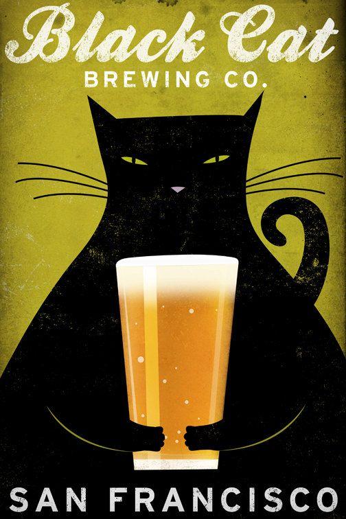 FREE CUSTOMIZATION Black Cat Brewing Company Black Cat Graphic Art Illustration…
