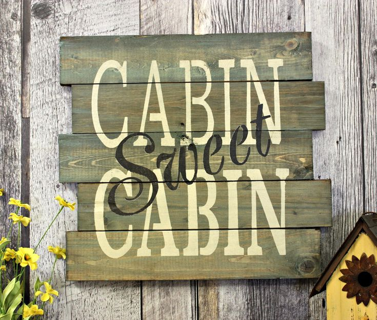 Cabin Sweet Cabin. Rustic Decor. Country Decor. Wood Sign. Wall Decor. Gift. Made In Canada. Distressed. The Great Outdoors. by WhereTheCrowFliesCA on Etsy