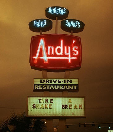 Take a shake break and enjoy a tasty burger from Andy's Drive-In Restaurant in Winter Haven, Florida!