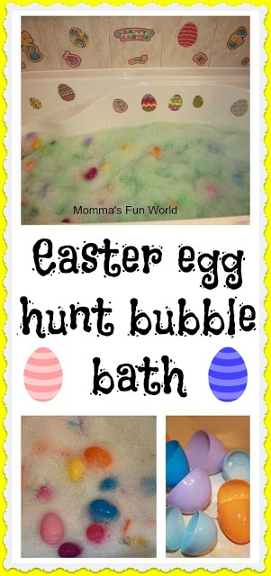 We've used food coloring in the bathtub for years but what a cute idea for all those extra plastic eggs. Maybe they could be filled with (non-swallowable) plastic toys!