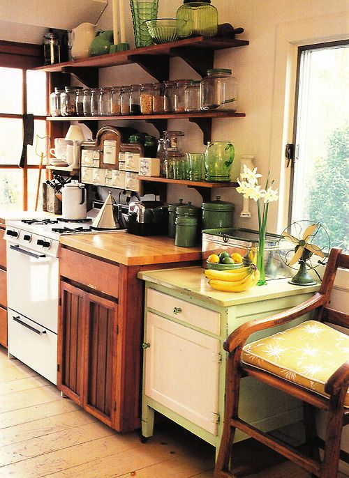 I like the mix and match as well as the shelves above the stove :)