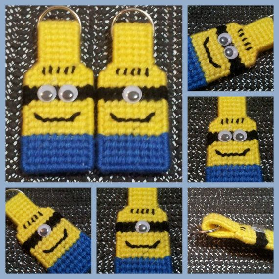 Minion Inspired keychain  backpack  purse tag  by HomespunCrafting