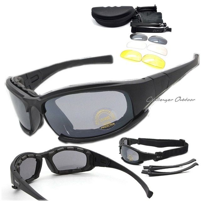 Military Goggles 4 Lens Kit Quality Polarized X7 Army Sunglasses Men War Game