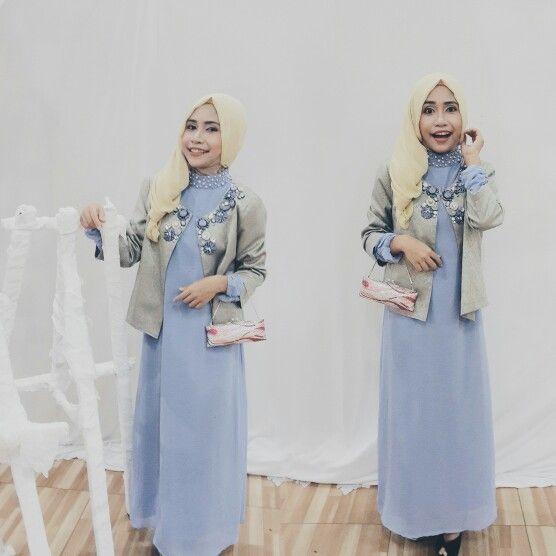 On K'hikmah's wedding. Frozen touch in me.   #muslimdress #frozen #pastelblue