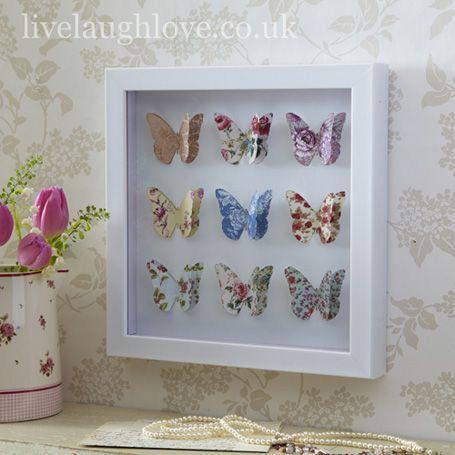 Box Framed Paper Art Picture-Butterflies
