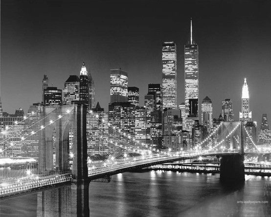 New York City at night... wow... this must be an old picture, the twin towers are in it... lovely though...