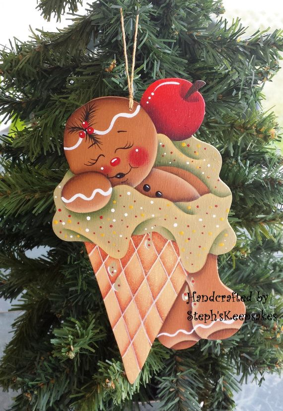 Handpainted Wooden Christmas Gingerbread por stephskeepsakes