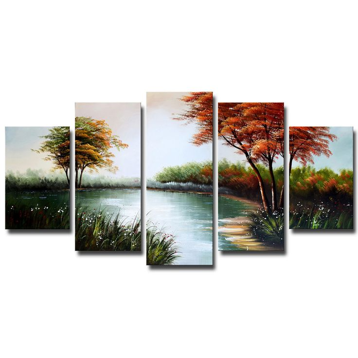 Forest Cool Waters Landscape Canvas Wall Art Oil Painting – Accent Canvas