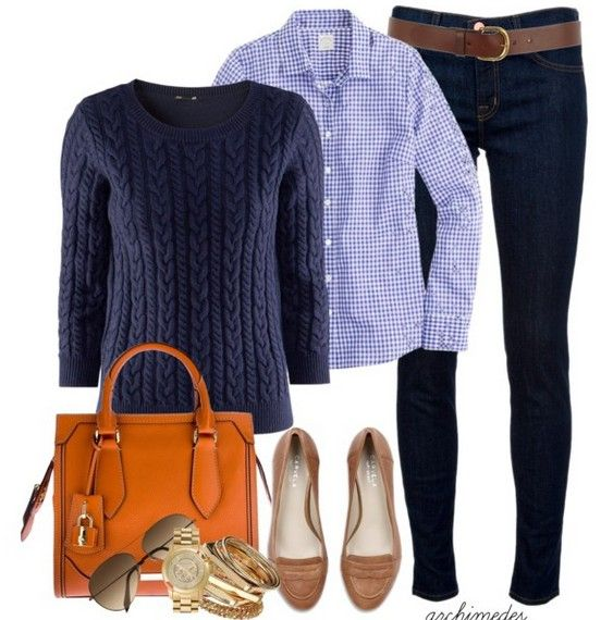 Trendy Outfits with Denim Shirts | The Trendy Outfit Idea, blue crew neck sweater and plais shirt
