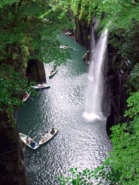 Takachiho Gorge is a V-shaped gorge created by the Gokase-gawa River, Miyazaki Prefecture, Japan