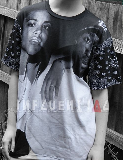 Aaliyah & Tupac T-Shirt with bandana sleeves.   100% Polyester  (All items are Unisex. Model wears a size S)