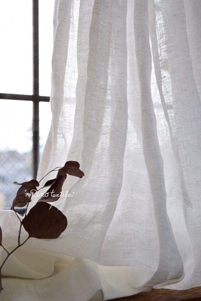 【アン】 2つ山カーテン リネンレースカーテン 薄地 サイズW100cm×H150cm ¥12,600(税込)
