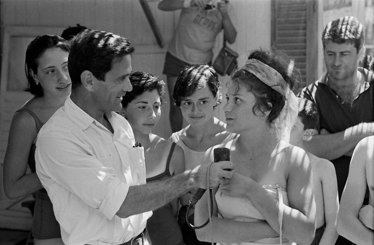 """Pier Paolo Pasolini on the set of """"Comizi d'amore"""" (Love Meetings), 1964 - photo by Mario Dondero"""