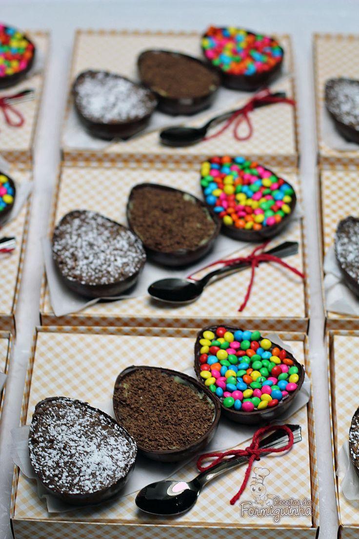 Ovos de Páscoa de Colher: Palha Italiana, Casadinho, Ganache com Confete