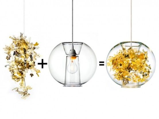 Awesome Delicate Lamp Reminding Of Exotic Vegetation : Delicate Lamp With Golden Flower And Light Bulb And Glass Globe